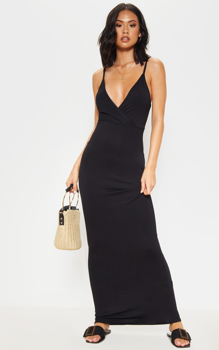 Black Jersey Plunge Strappy Maxi Dress 1