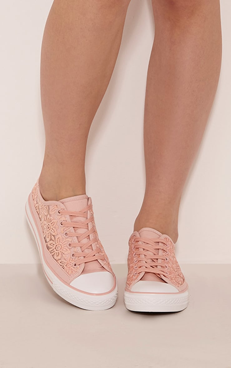 Ashlynn Pink Lace Side Detail Trainers 1