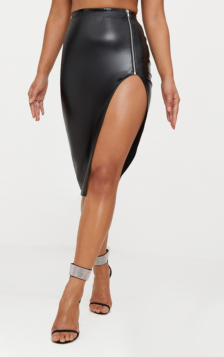 Black Faux Leather Extreme Split Skirt 2