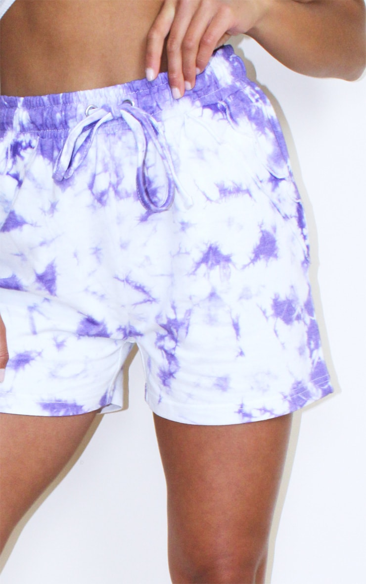 Petite Purple Tie Dye Frill Sweat Detail Short 5