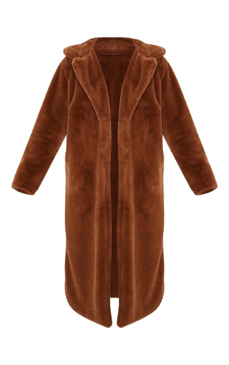 Dark Brown Maxi Faux Fur Coat 3