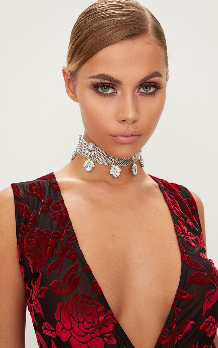 Silver Thin Diamante Drop Choker 1