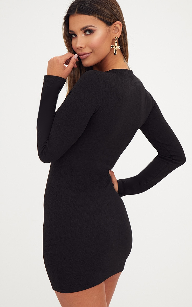 Black Extreme Plunge Lace Up Bodycon Dress 2