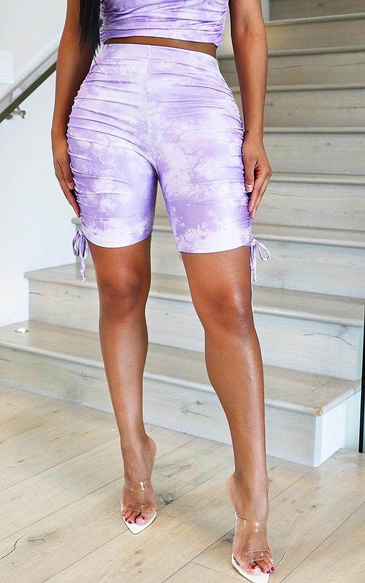 Shape Lilac Tie Dye Slinky Ruched Side Bike Shorts 2