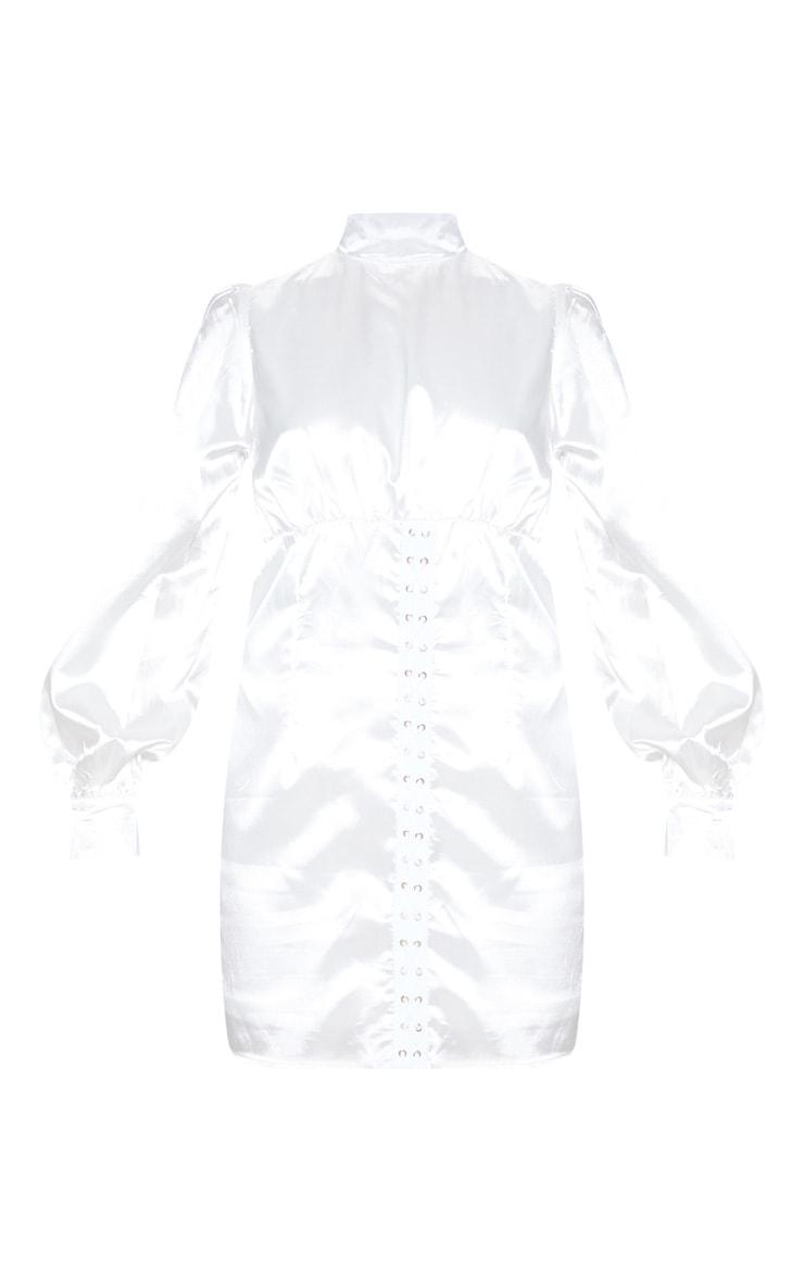 White Satin High Neck Eyelet Bodycon Dress 3