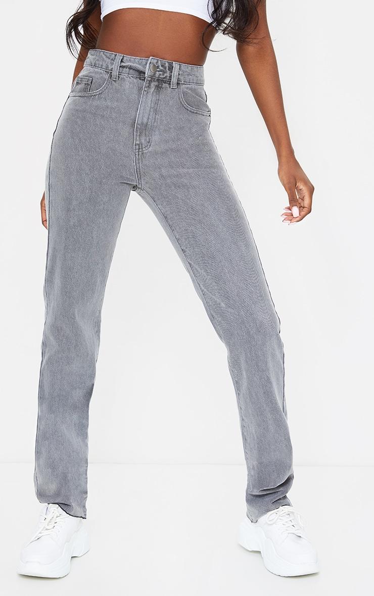 PRETTYLITTLETHING Tall Grey Wash Long Leg Straight Jean 5