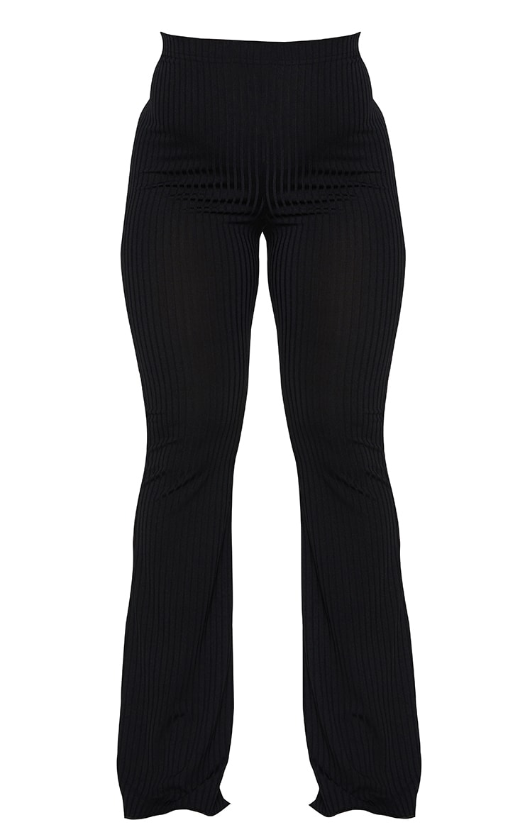 Shape Black Ruched Bum Flared Trousers 5