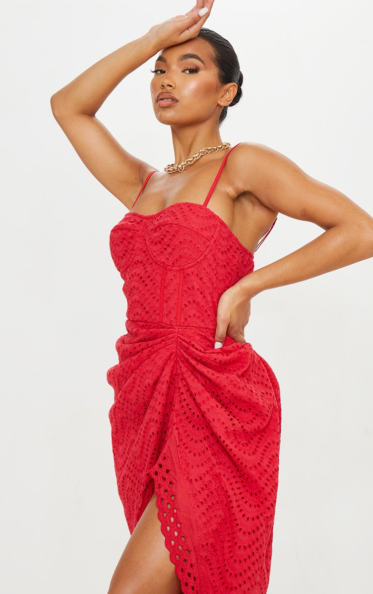Red Broderie Anglaise Strappy Corset Drape Midi Dress 4