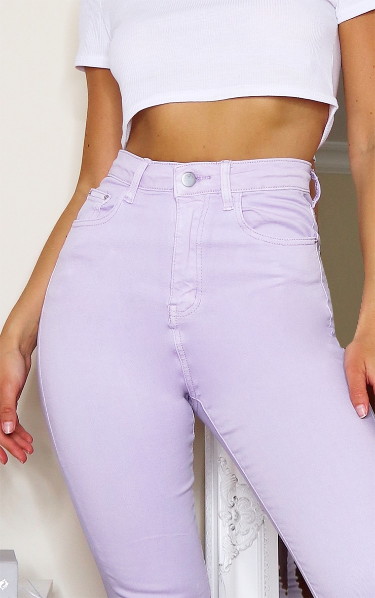 PRETTYLITTLETHING Lilac 5 Pocket Skinny Jeans 4
