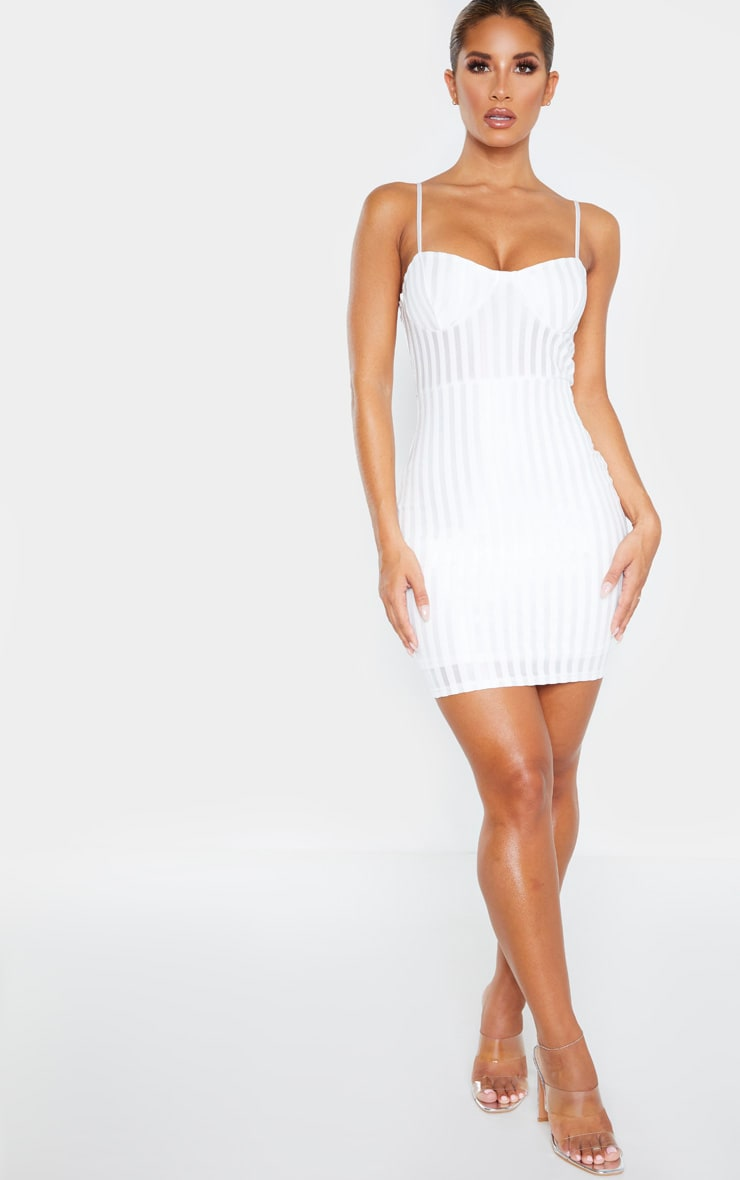 White Strappy Cup Detail Striped Bodycon Dress 4