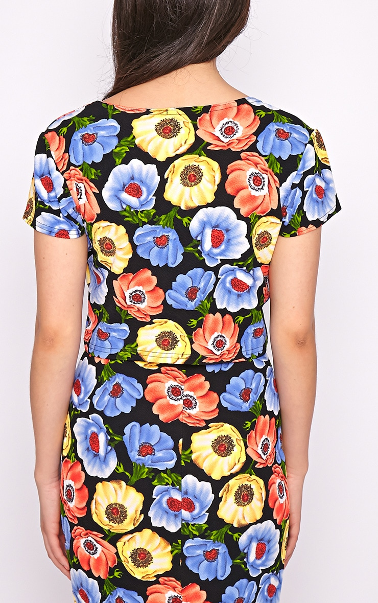 Jennie Multi Print Poppy Crop Top 2