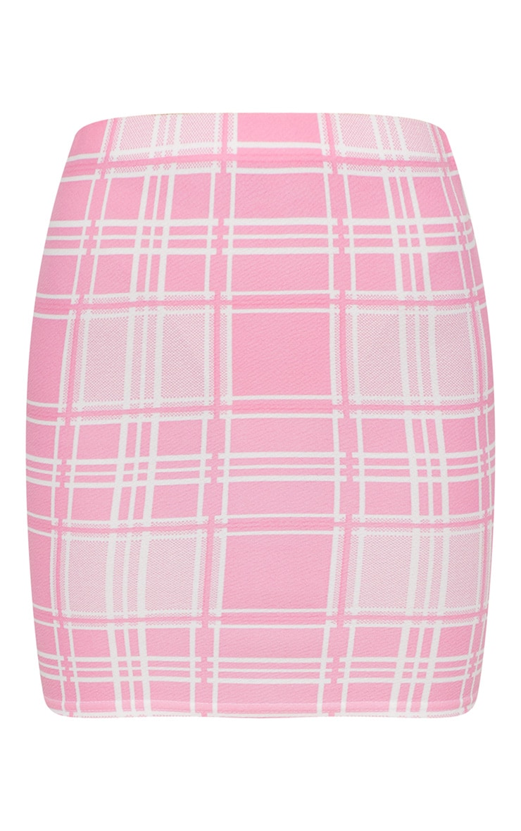 Pink Check Print Mini Skirt 3
