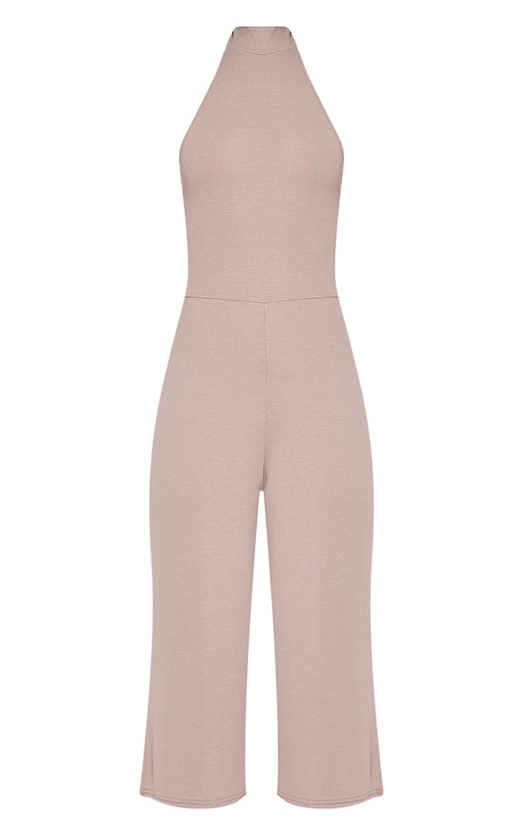 Marcie Taupe High Neck Low Back Culotte Jumpsuit 3