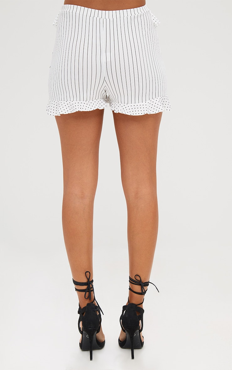 Cream Contrast Frill Stripe Shorts 4