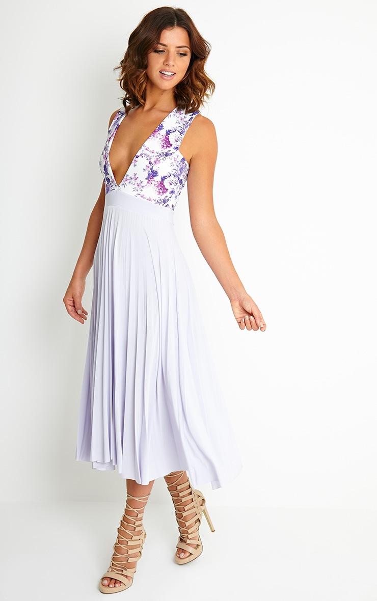 Rebekah Lilac Floral Pleated Midi Dress 3