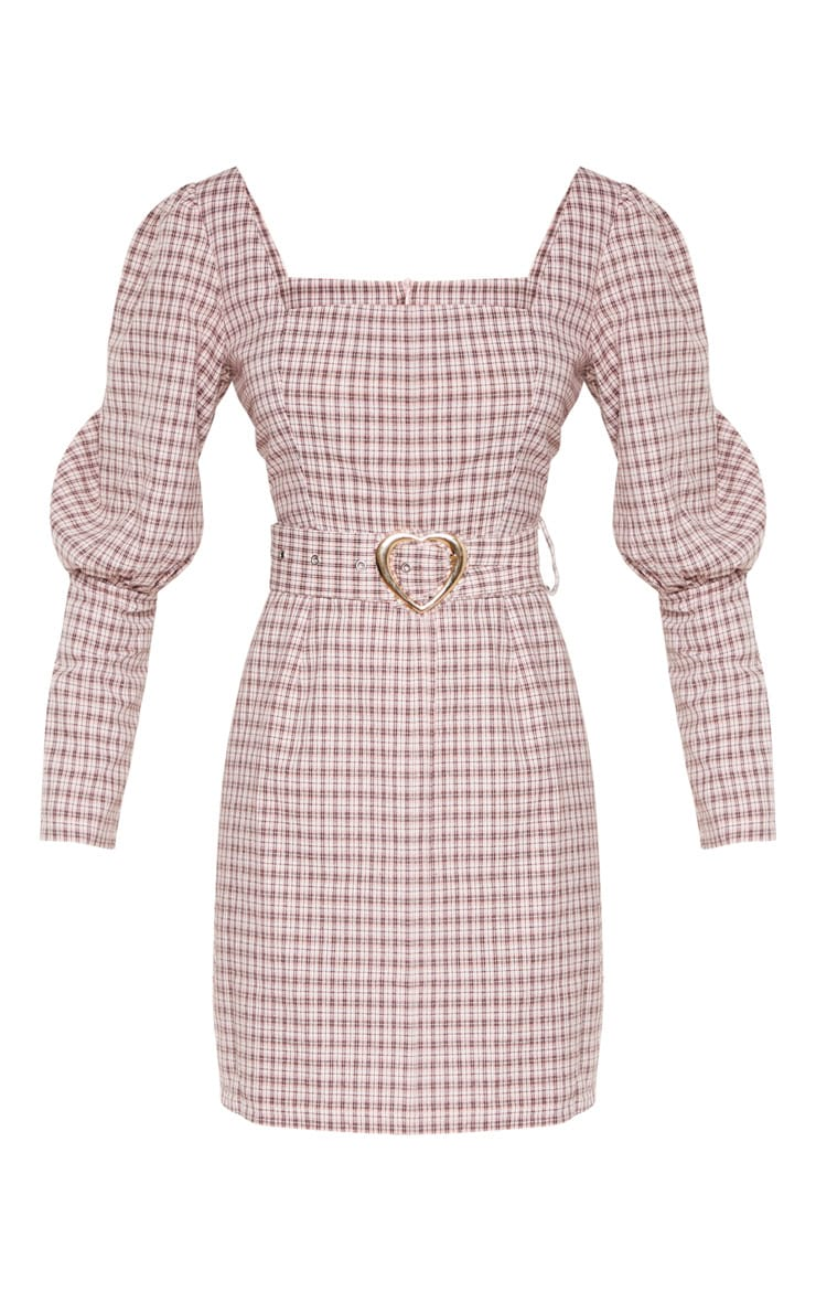Pink Check Square Neck Puff Sleeve Belted Shift Dress 3