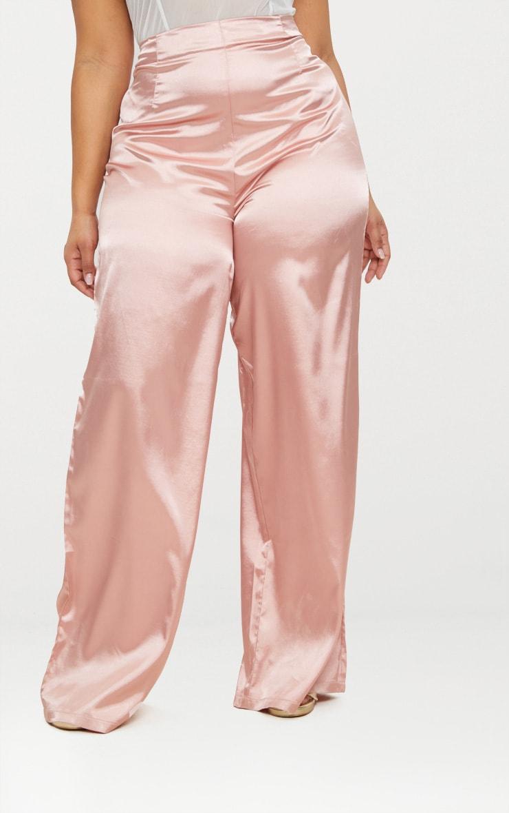 Plus Dusty Pink Satin Wide Leg Trousers 2