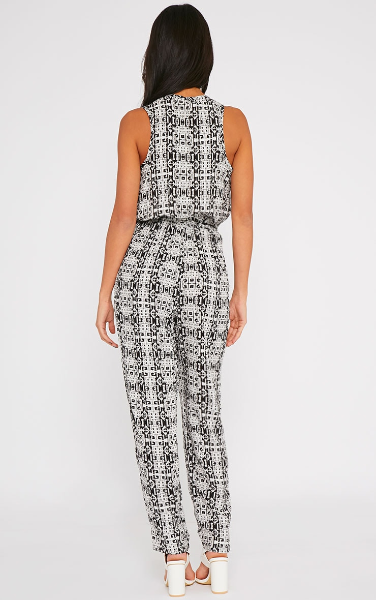 Mona Black All Over Printed Jumpsuit 2