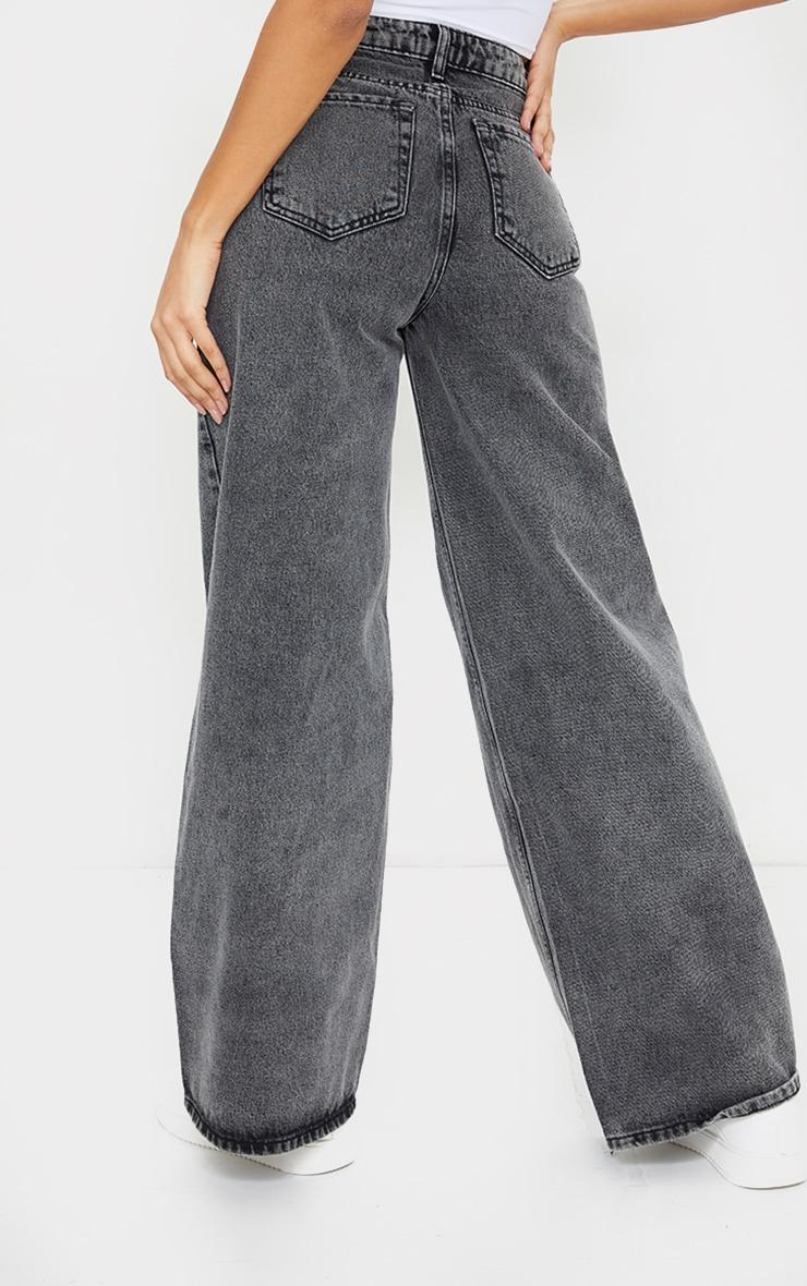 Grey Acid Seam Detail Wide Leg Jeans 3