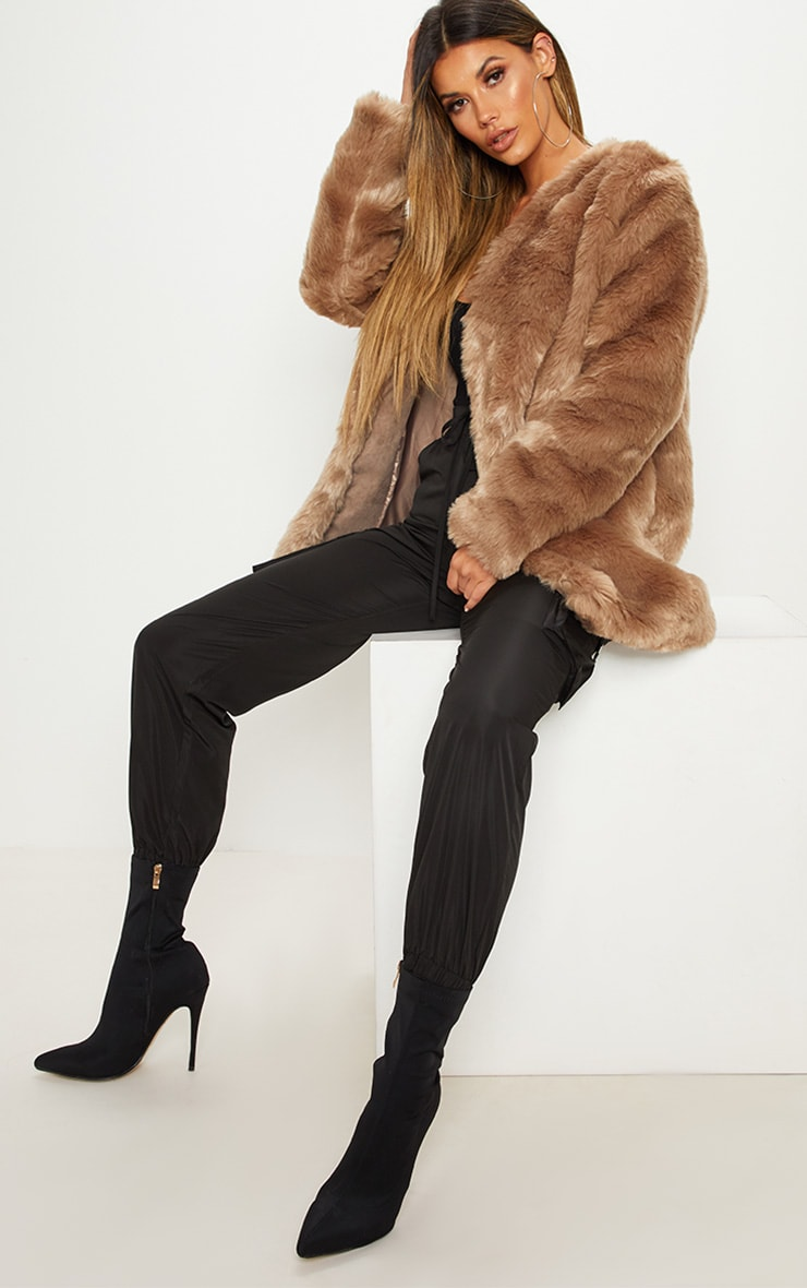 Brown Midi Faux Fur Coat  1