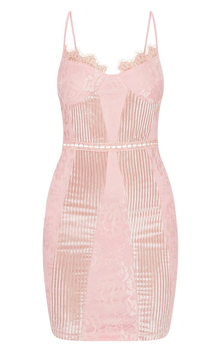 Pink Strappy Lace Velvet Insert Bodycon Dress 3