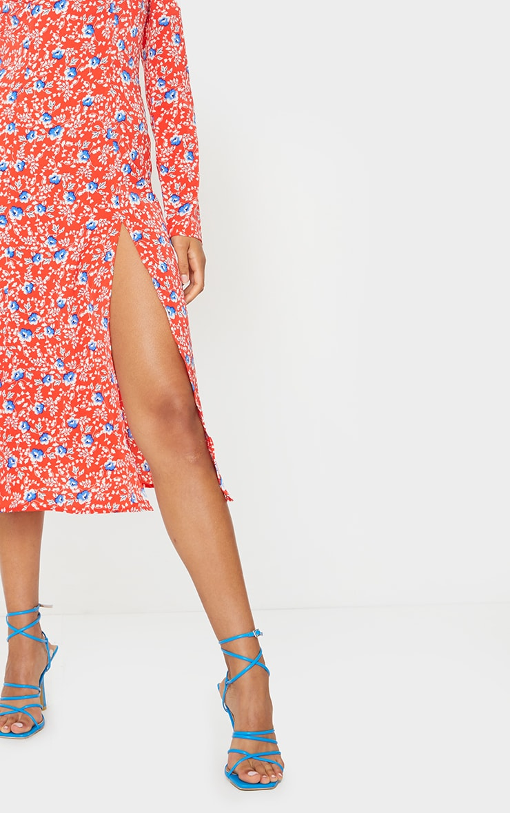 Red Floral Cup Detail Split Midi Dress 4