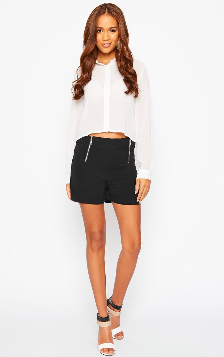 Mikkel Black Zip Front Shorts 4