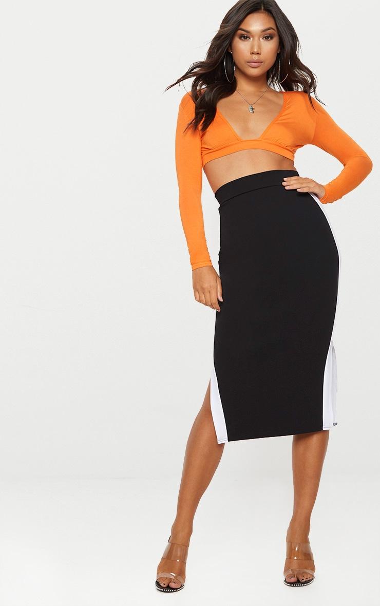 Orange Gathered Front Long Sleeve Crop Top  4