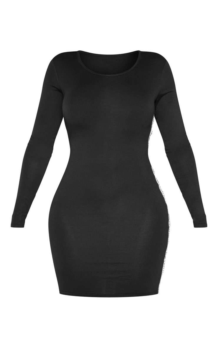 PRETTYLITTLETHING Shape Black Side Tape Bodycon Dress 3
