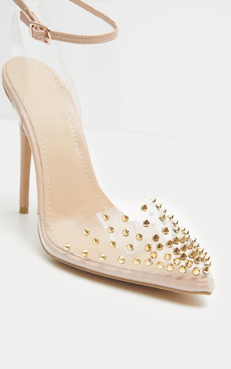Nude Studded Clear Court Shoes  4