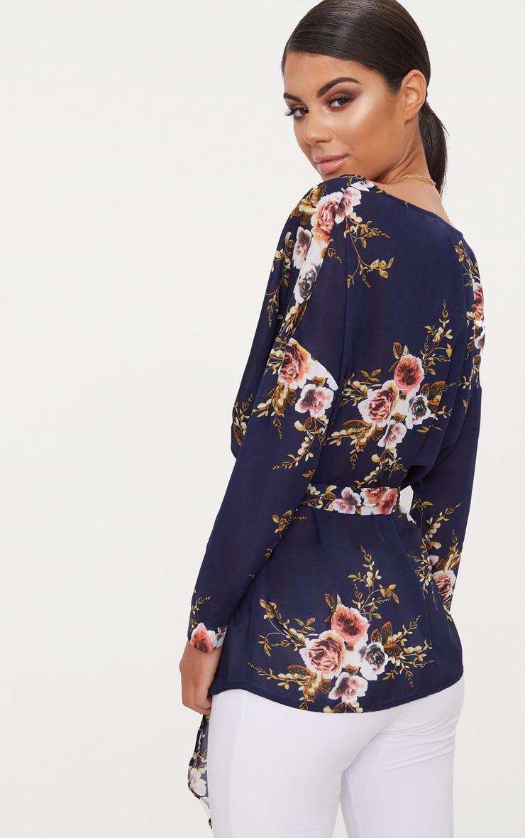 Navy Floral Print Tie Waist Blouse  2