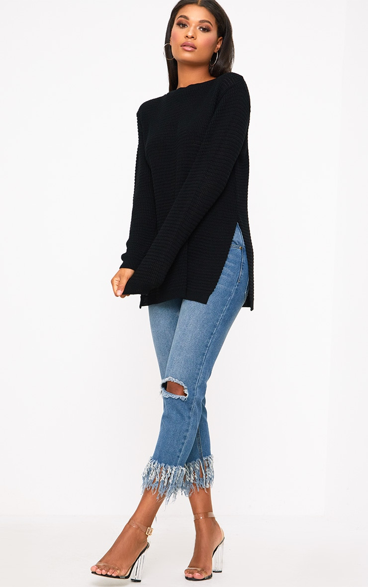 Black Purl Knit Jumper 4