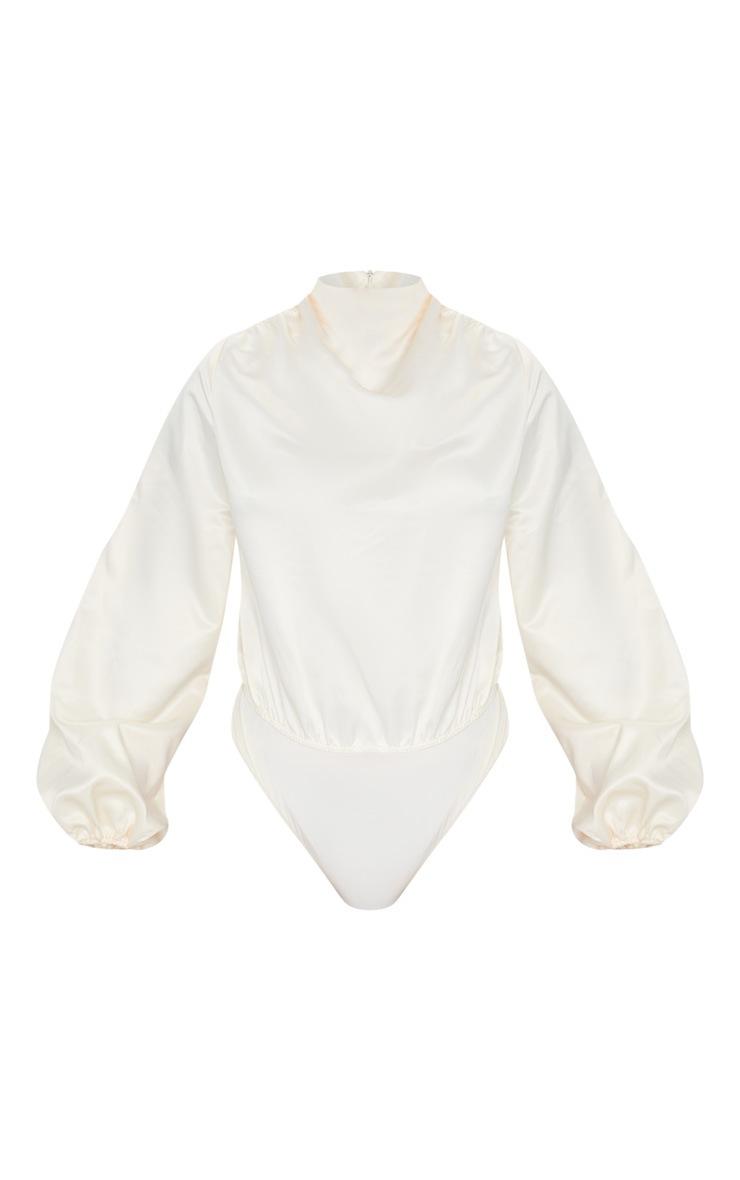 Cream High Neck Woven Puff Sleeve Bodysuit 6