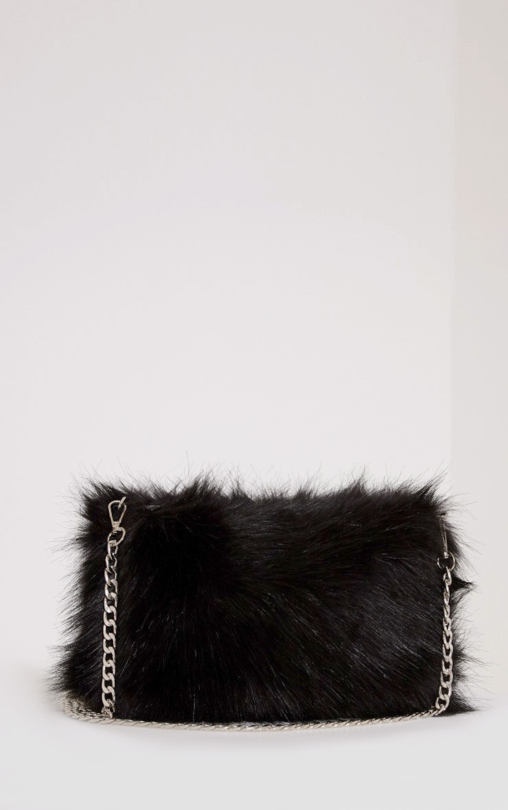 Christah Black Faux Fur Chain Shoulder Bag 3