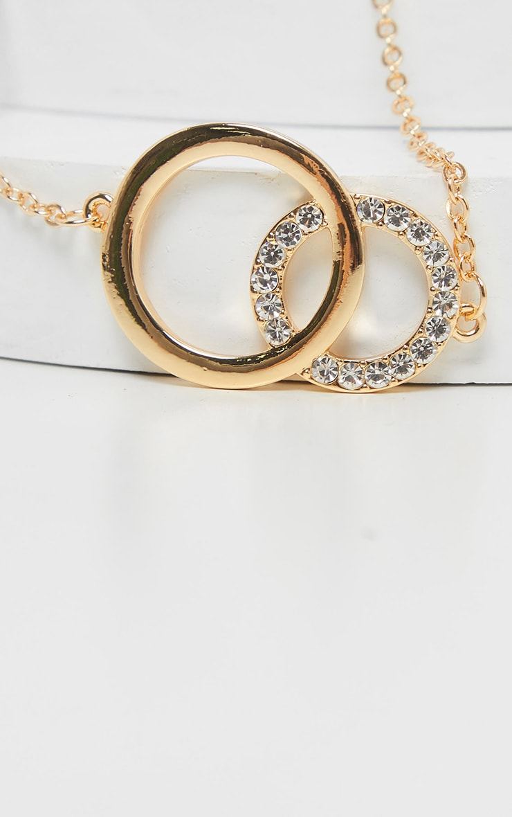 Gold Double Circle Diamante Choker 4