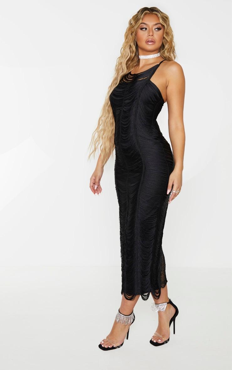 Black Tassel Detail Cross Back Midaxi Dress 1