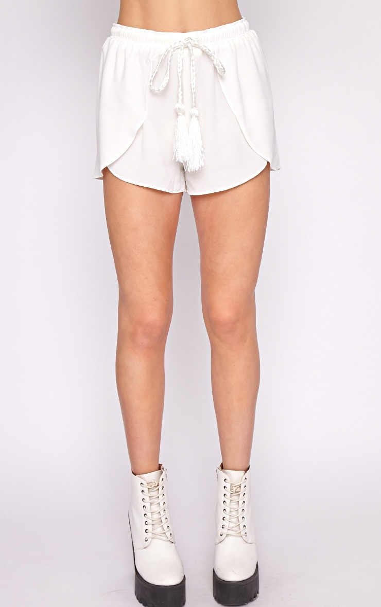 Rena White Tassel Tie Runner Short  4