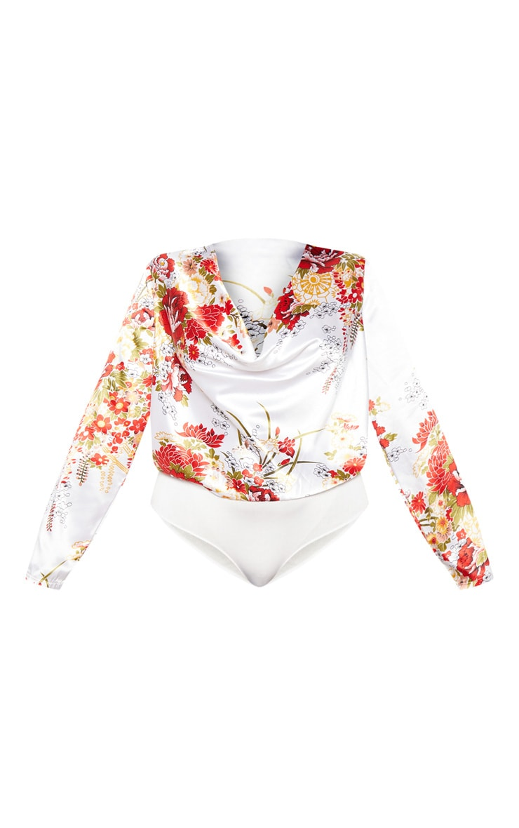 Plus Cream Floral Print Satin Cowl Long Sleeve Bodysuit 3