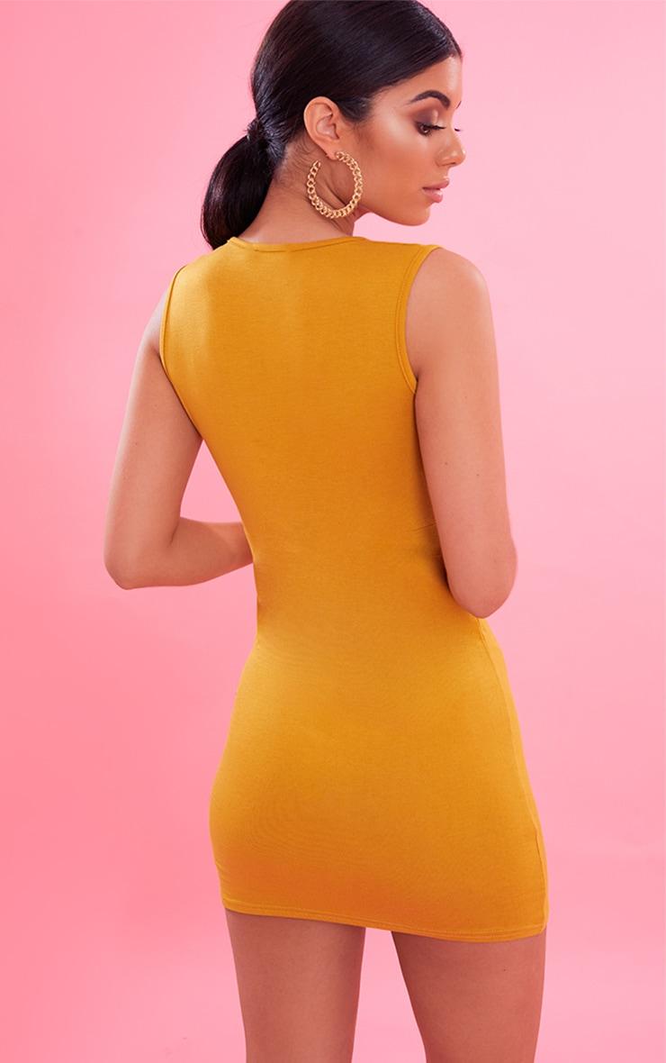 Mustard Extreme Plunge Bodycon Dress 3