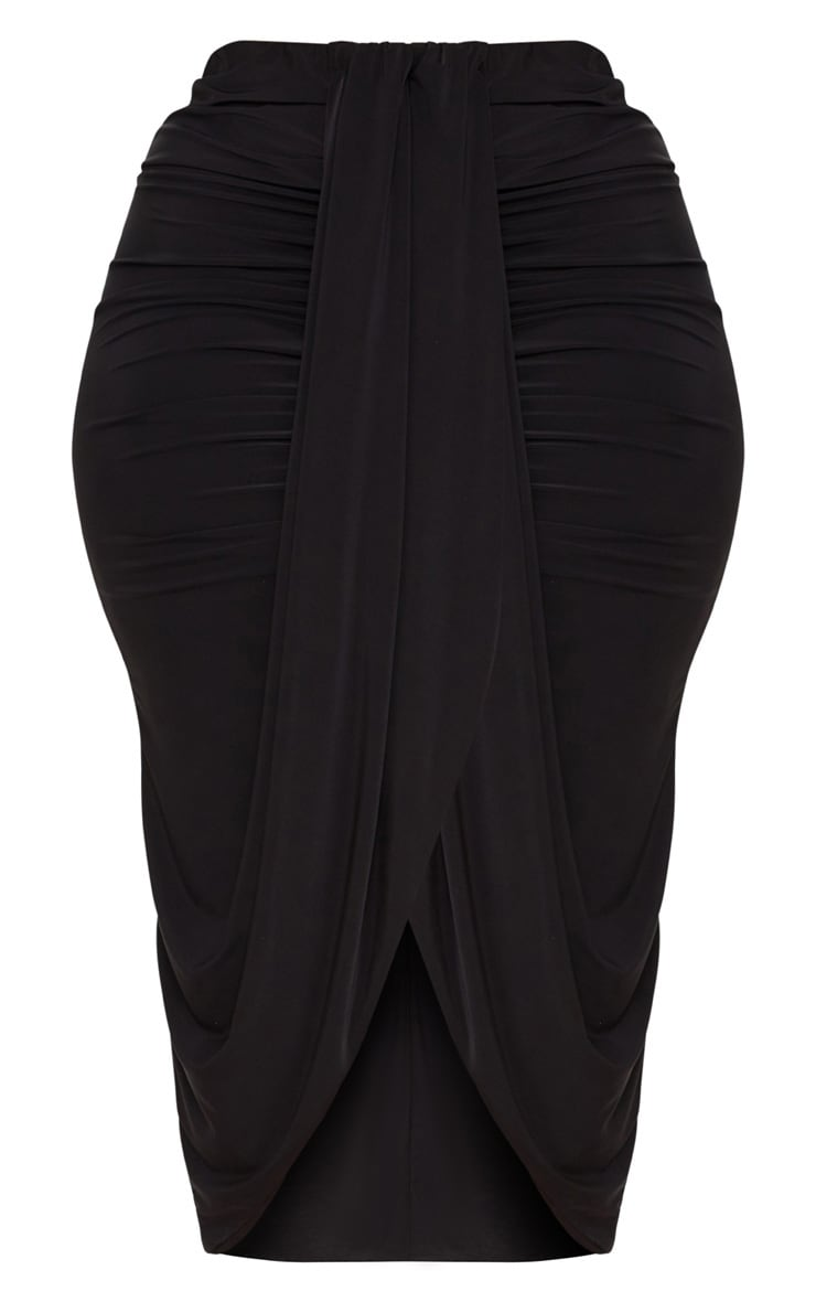 Plus Black Slinky Ruched Wrap Front Midi Skirt 3