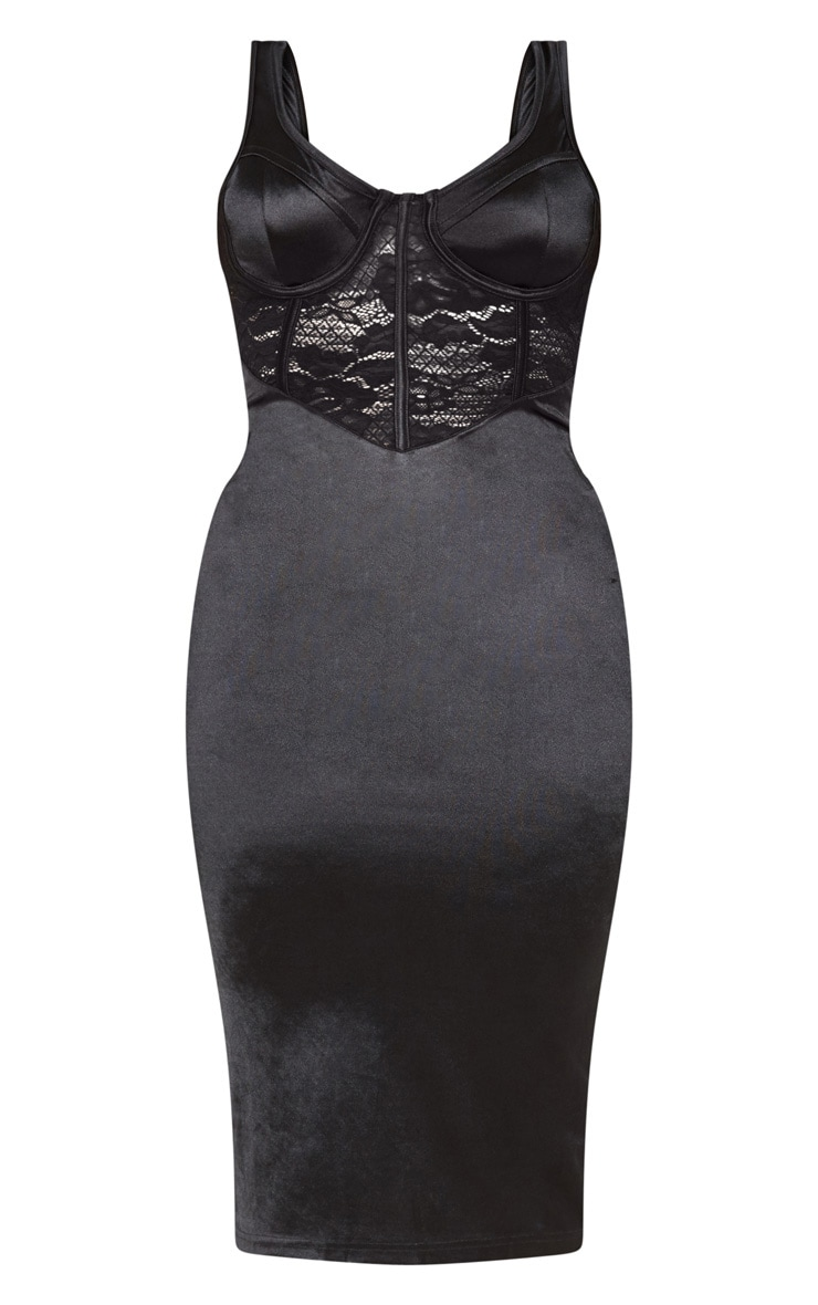 Black Satin Bustier Lace Insert Midi Dress 4