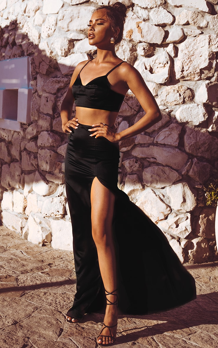 Black Satin Maxi Skirt image 1