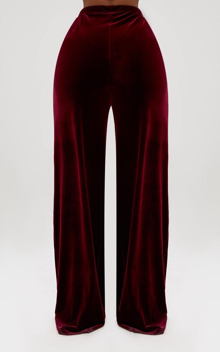 Shape Wine Velvet Wide Leg Trousers  4