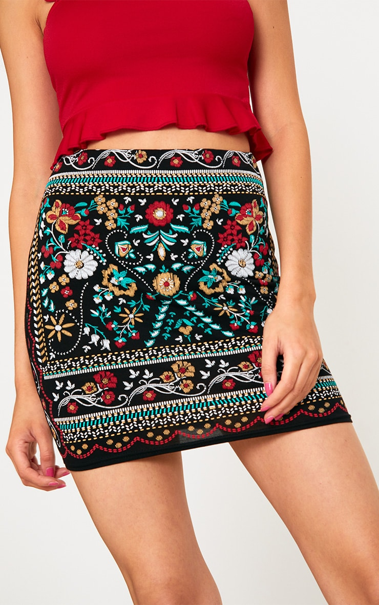Black Embroidered Printed Jersey Mini Skirt 6