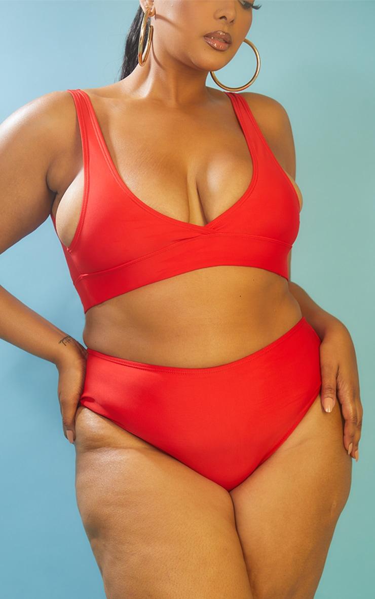 Recycled Plus Red Mix & Match High Waist Bikini Bottoms 1