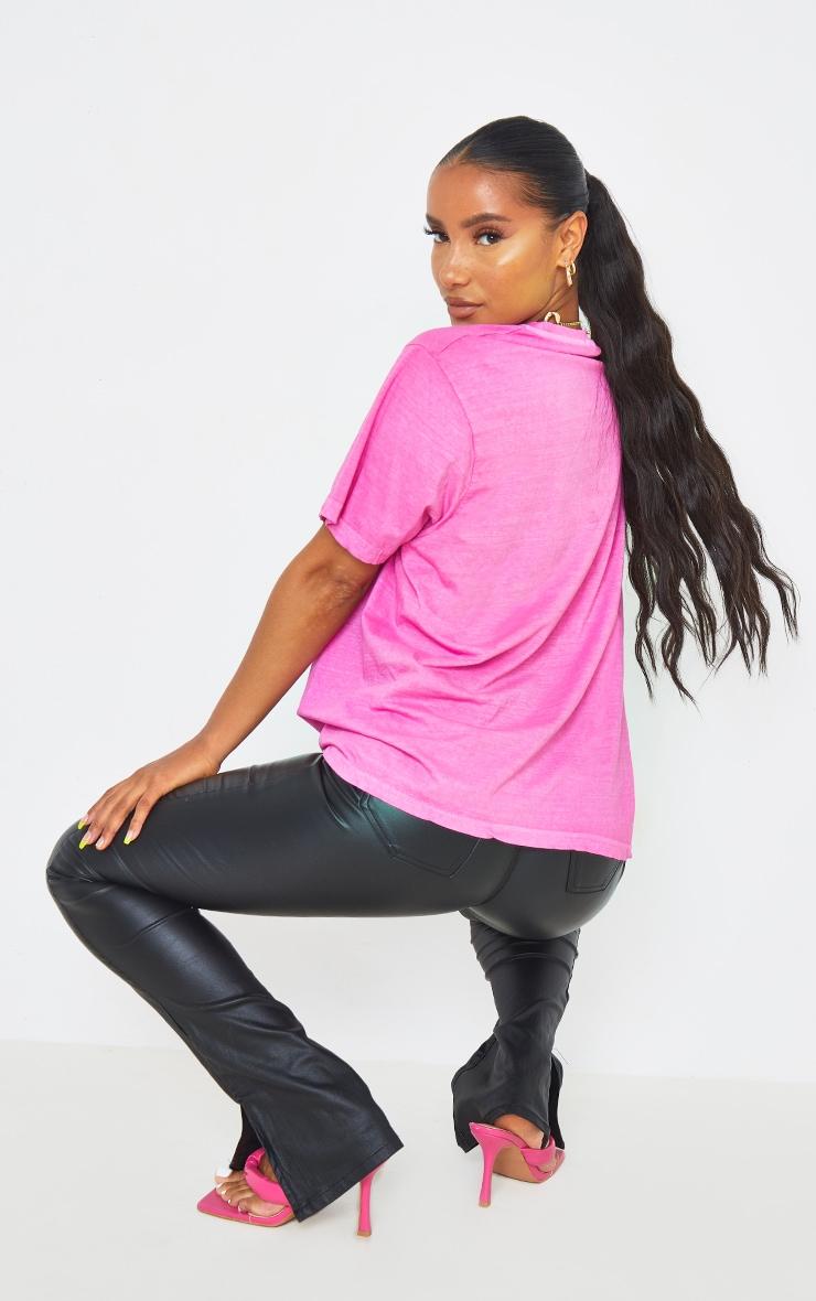 Hot Pink Washed Oversized T Shirt 2