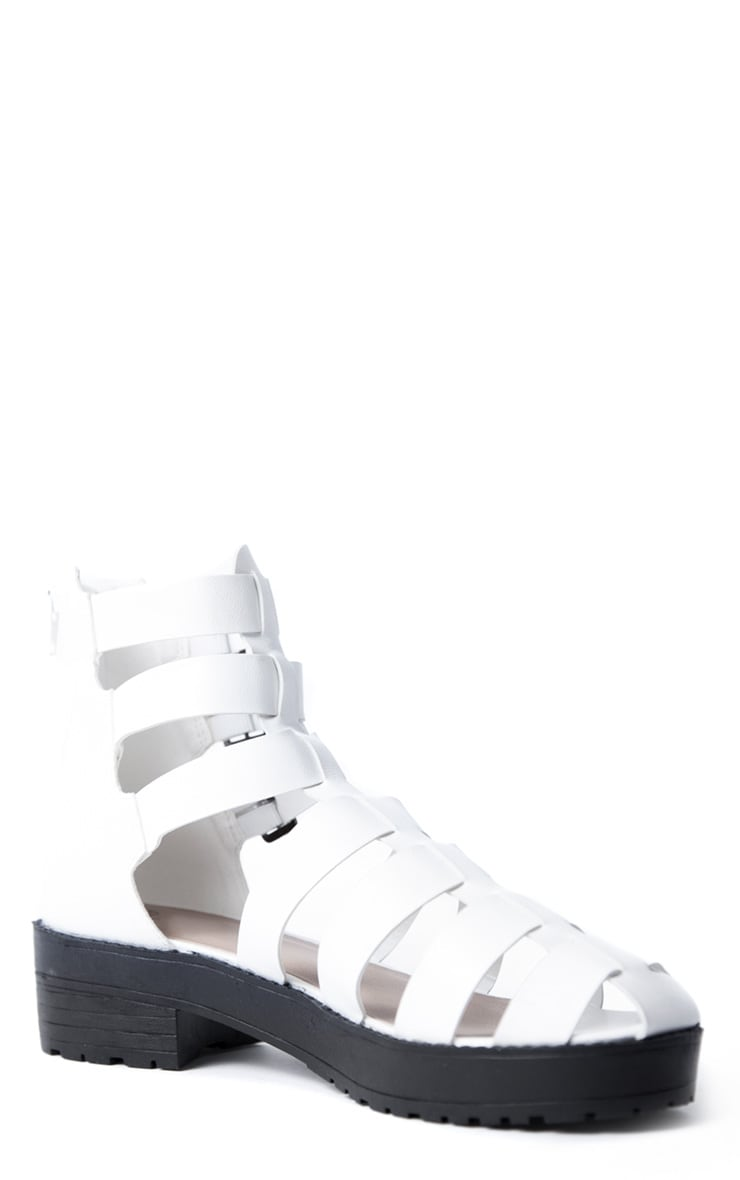Riley White Three Buckle Roman Sandal  3