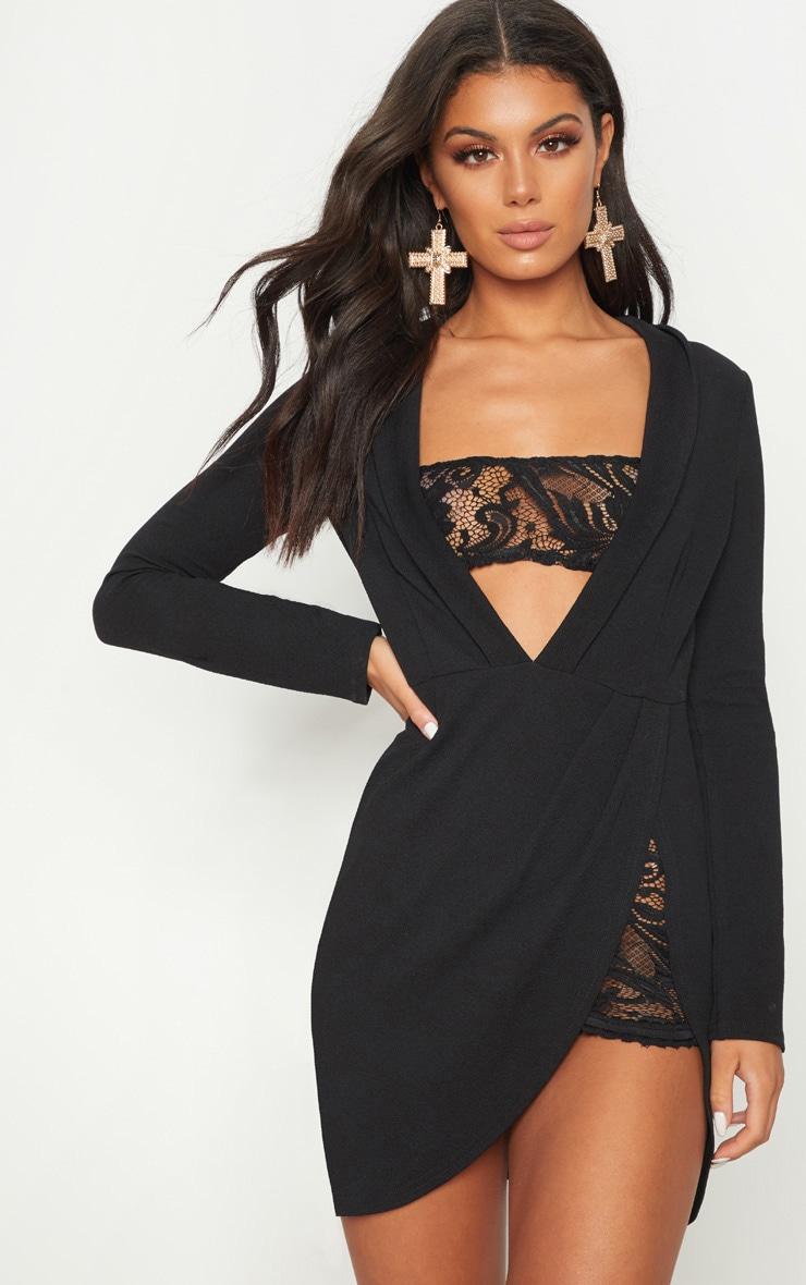 Black Lace Insert Blazer Dress  1