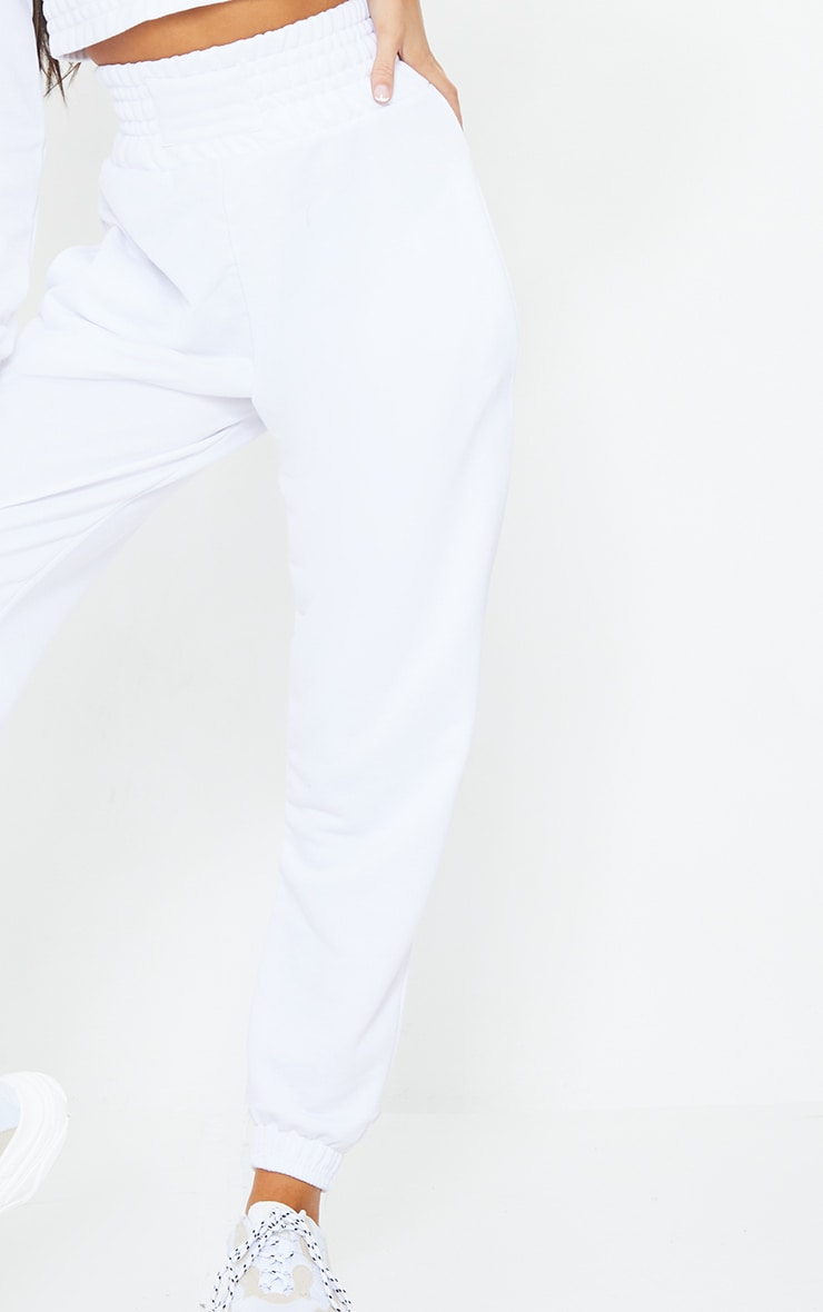 White Shirred Waist Panel Joggers 4
