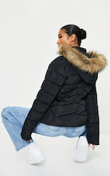 Black Quilted Mara Faux Fur Hooded Puffer Jacket 2